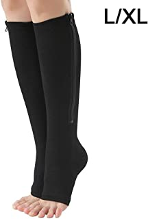 Medical zipper compression socks compression leg support knee high socks firm pressure socks circulation orthopedics support stockings open toe heat Physiotherapy socks (Color : Gold)