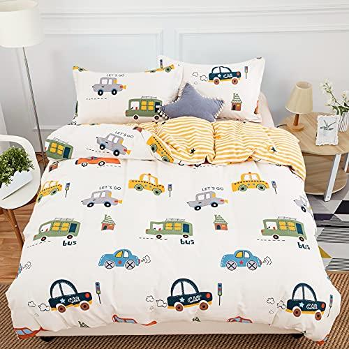 WONGS BEDDING Baby Bettwäsche 100 x135 cm 100% Baumwolle Autos Kinderbettwäsche Cartoon Muster Bettwäsche mit Reißverschlus Jungen Kinder Wende Bettwäsche mit Kissenbezug 40x60 cm