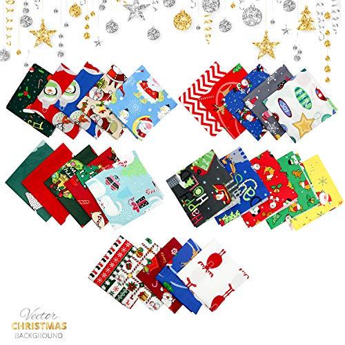telas navideñas, telas de navidad, tela de algodón navideña, telas patchwork, telas de algodón paquete 25 piezas, para diy calcetín navideño/scrapbooking, 25x25cm