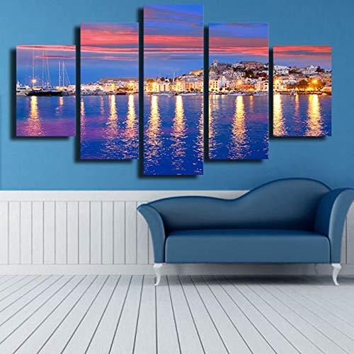 Fotos de Lienzo Wall ArtPrints Posters 5 Unidades Hermosa Isla de Ibiza Noche Eivissa Vista al Mar Pinturas Decoración para el hogar(Sin Marco)