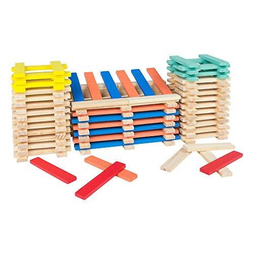 WOOMAX ColorBaby 43617 - Cubo 200 blocchi impilabili in legno