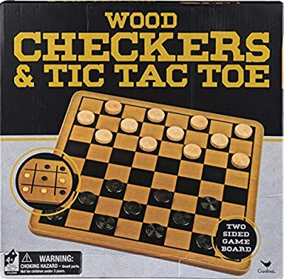 Wood Checkers & Tic Tac Toe - 2 Sided Game Board and Pieces