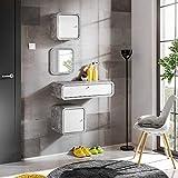 MAS WALLY I - Juego de muebles para pasillo, 80 cm de ancho, con espejo cuadrado flotante para puertas de armario, cajón, color blanco brillante