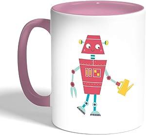 كوب سيراميك للقهوة، لون بنك، بتصميم رسوم كرتونية - روبوت مزارع