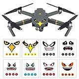 O'woda 8 Ensembles Peau de Drone Cool Eagle / Stickers Autocollants 3M Visage de Requin avec Autocollant du numéro de Batterie pour DJI Mavic Air 2/Pro / Spark