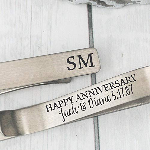 Anniversary Gift Personalized Tie Clip Husband Gift Anniversary Tie Bar Mens Gift 4 Year Anniversary Gift Tie Clip Personalized Names ANNIVER-TIE