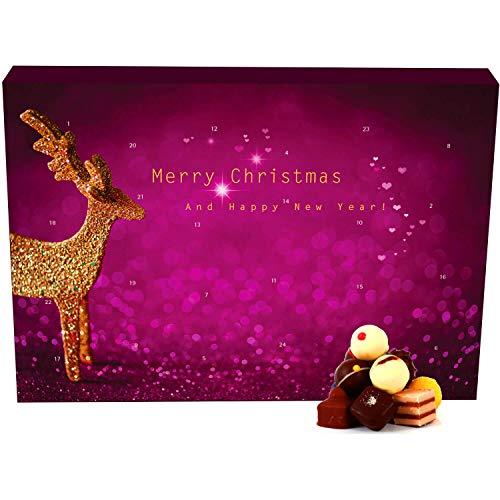 Hallingers 24 Pralinen-Adventskalender, mit/ohne Alkohol (300g) - Modern (Advents-Karton) - zu Weihnachten Adventskalender