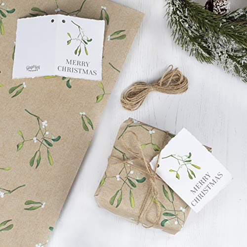 Ginger Ray Wrap Kit with Tags Twine Rustikaler Weihnachts-Mistelzweig