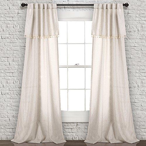 "Lush Décor Ivy Tassel Window Curtain Panel Pair, 84"" x 40"", Neutral"