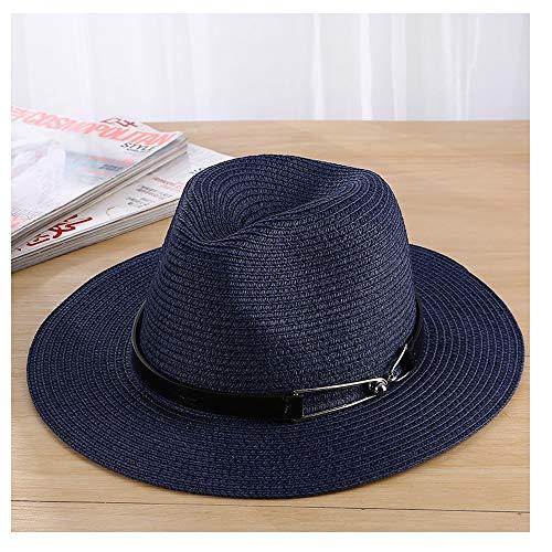 kimreaber Sombrero de verano para hombre y mujer, sombrero de paja unisex, sombrero de panamá, sombrero para hombre, playa, viaje, vacaciones, (color: azul marino, tamaño: 56-58 cm)