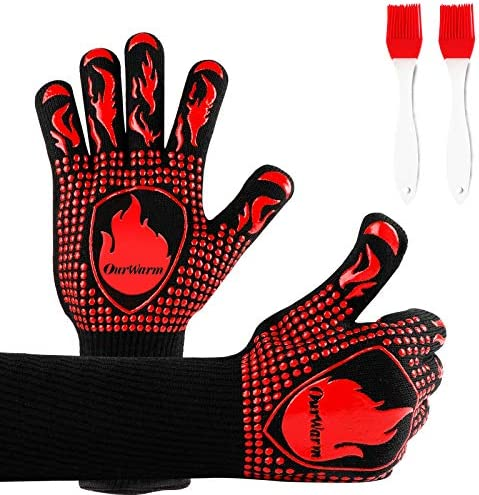 OurWarm BBQ Gloves 1472 F Extreme Heat Resistant Gloves for Cooking 2 in 1 Grill Gloves Hot product image