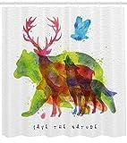 ABAKUHAUS Tier Duschvorhang, Alaska Tiere Bär Wolf, Moderner Digitaldruck mit 12 Haken auf Stoff Wasser und Bakterie Resistent, 175 x 240 cm, Multicolor