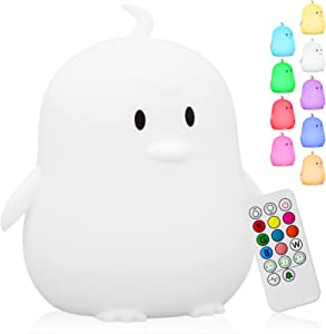 Cute Penguin Kids Night Light, Silicone Rechargeable Nursery NightLights,Portable Changing Mode Multicolor Lamp Light Children Bedroom,Gifts for Women Toddler Baby Kawaii Room Decor