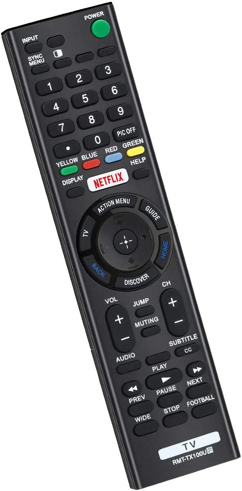 CtrlTV Replacement for Sony Bravia Smart Remote and Sony Bravia UHD Crystal 4K Smart HDR OLED TVs LCD LED HDTV RMT-TX100U with Netflix XBR KDL Series