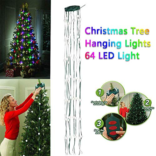 D&F 64 LED-Lampen Tree Dazzler-Lampe,Weihnachtsbaum Licht dekorativ Hängende Mehrfarbenlichter für Indoor Party Garden Patio
