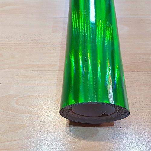Tuning-Garade-3000 [21,00/m²] Folie Selbstklebend Luftkanäle Chrom Hologramm Grün + DEUTSCHE Anleitung (30CM X 150CM)