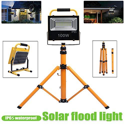 Luz de trabajo LED de 9000 lm, 100 W, impermeable, luz solar recargable, luz de trabajo telescópica ajustable para taller, construcción, pesca, camping