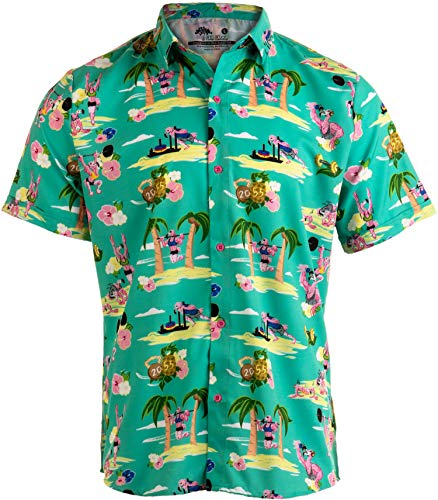Workout Flamingos | Funny Lifting Hawaiian Button Down Polo Party Lift Shirt Men