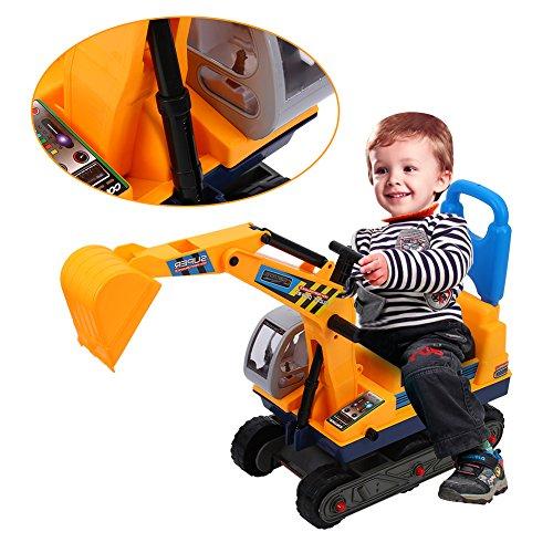 Cocoarm Sitzbagger für Kleinkinder Kinderbagger Rutscher Kinderfahrzeug mit Helm Bagger Rutschbagger Sandbagger Loader Kinderfahrzeug Gelb