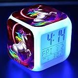 Precioso Unicornio Pegatina Led Reloj Despertador De Escritorio Luz De Flash Colorida Unicornios Figura Juguetes Para NiñOs Proveedor De Fiesta N10