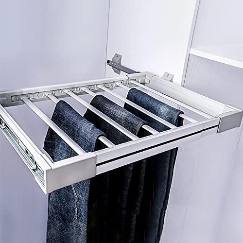 HXFAFA Armario Ropa Pantalonero Extraíble Percha para Pantalones con Corredera Inoxidable Multifuncional Extraible Longitud Estirada 45-120 cm
