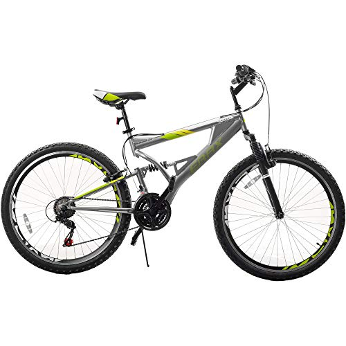 26 Inch Mountain Bike with Full Suspension 21-Speed Derailleurs and Shifters Aluminum Frame Bicycle,Student Outdoors Unisex Portable Bike,Outroad Mountain Bike (Gray and Green)
