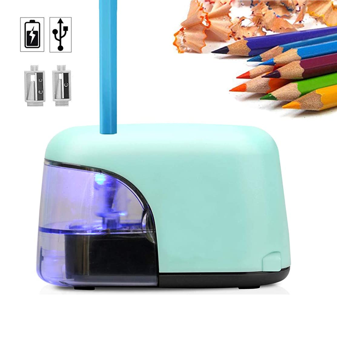 Electric Pencil Sharpener, USB or Battery Operated Pencil Sharpener, Heavy Duty Automatic Pencil Sharpener With LED Light and 2 Steel Blades for 6.5-8mm Diameter Pencils for Artists, Students and Kids