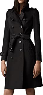 EORISH Women British Double Breasted Slim Long Trench Coat Windbreaker