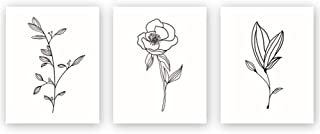 Unframed Abstract Flower Art Print Nordic Style Black&White Rose Leaf Art Wall Plant Painting, Set of 3(8''X10'') Canvas Poster for Modern Wall Decor,Housewarming Gift (Renewed)