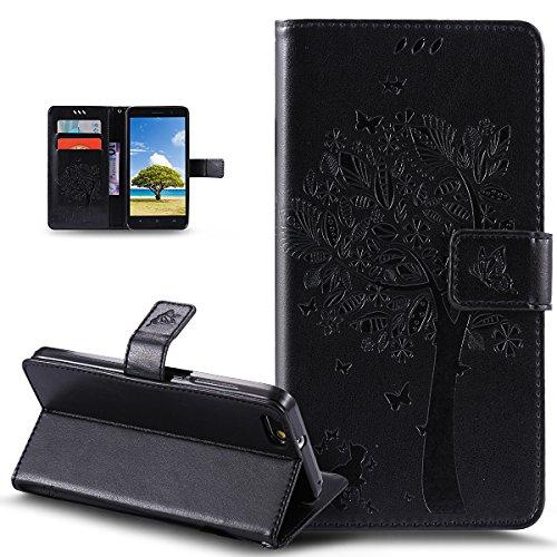 Kompatibel mit Huawei Honor 4X Hülle Schutzhülle,Prägung Katze Schmetterlings Blumen PU Lederhülle Flip Hülle Handyhülle Ständer Tasche Wallet Hülle Schutzhülle für Huawei Honor 4X,Schwarz
