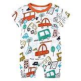 L'été Toddler Enfants Garçons Bébé Mignon De Bande Dessinée Romper Jumpsuit Outfit Vêtements Onesies Impression de Girafe de Dessin animé Combinaison(0-3 Mois,Orange)