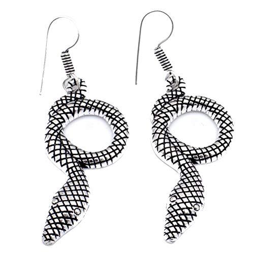 Antique Look! Trendy Fashion Plan EARRING 2.25' Snake Shape! Oxidized...