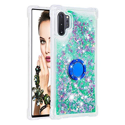 Coque pour Samsung Galaxy Note10+/Note10 Pro 5G,Brillante Cristal Diamant Anneau Socle de téléphone Liquide Dégradé Transparente Silicone TPU Étui Antichoc Coques(Amour Vert)