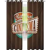 Cortinas de bloqueo de luz, Estilo retro, cartel de cine, diseño de festival de Hollywood Tema, 2 paneles W52 x L84 cortinas opacas para habitación de niños, marrón turquesa bermellón