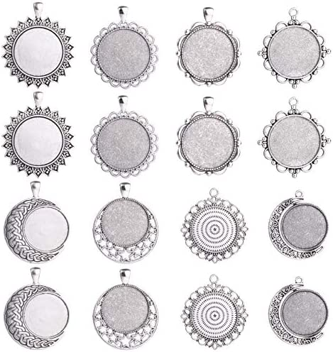 16 Pcs 25mm 30mm Mix Antique Silver Round Blank Bezel Pendant Trays Base Cabochon Settings Trays product image