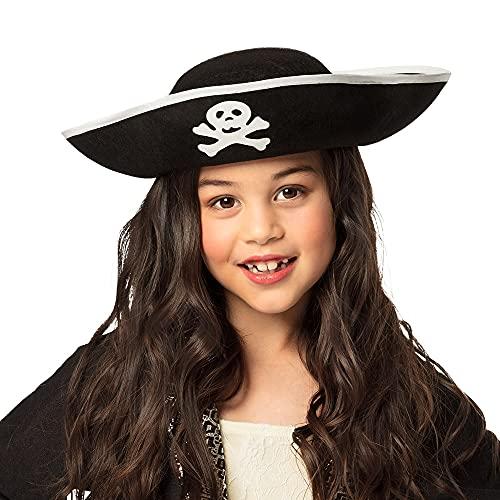 Boland 81909 - Hut Pirat, für Kinder, Dreispitz, Seeräuber, Kapitän, Freibeuter, schwarz, Totenkopf, Karneval, Fasching, Mottoparty, Halloween, Verkleidung, Kostüm, Theater