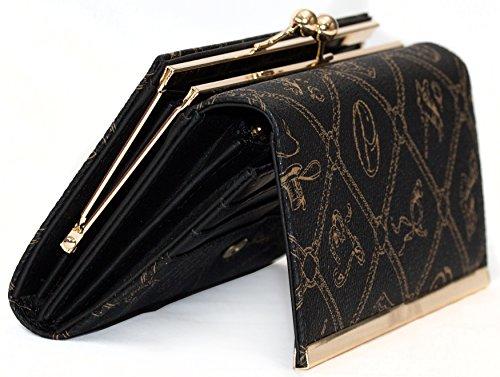 Damen Geldbörse mit Clipverschluss (Kugelverschluss) und extra viele Fächer in XXL Ausführung von Giulia Pieralli mit Geschenkbox Frauen Portemonnaie in Kunst Leder (Nero Schwarz)