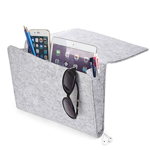 [UPGRADED] Thicker Bedside Pocket, Felt Bedside Caddy Home Sofa Desk Bed Caddy Storage Organizer with Cable Holes 2 Small Pockets for Organizing Tablet Magazine Phone Small Things Holder (Light-Gray)