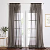 NICETOWN Sheer Curtains for Living Room 95 inch Long, Rod Pocket Decorative Soft Sheer Panels Elegant Window Treatments for Home Decor, 60' W, Set of 2, Dark Grey