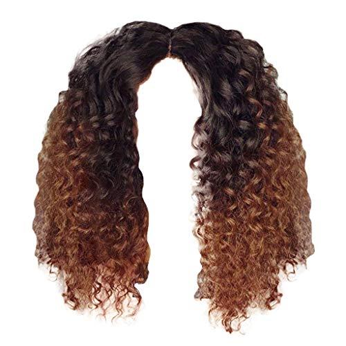 Kashyk Damenperücke, kurzes lockiges Haar + halblange Perücke, Wasserwellenperücke, Wellenperücke, afrikanisches lockiges Haar, hitzebeständige Kunstperücke, Cosplay