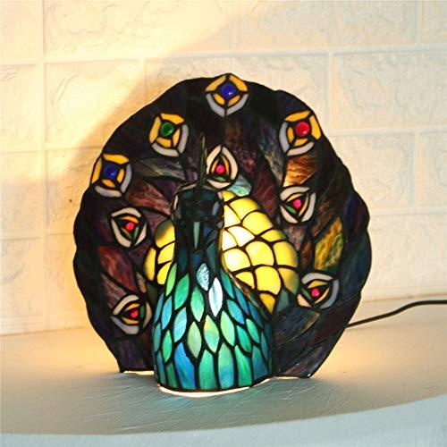 Hai Ying ® LED bureaulamp creatieve kleurrijke glazen peakock design tafellamp eye-caring bureaulamp perfect voor kinderen lezen in slaapkamers studie bureaulamp 110 V-240 V