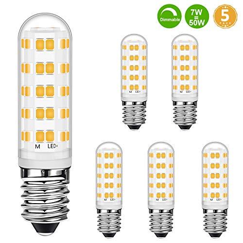 Lampadine a candela E14 LED dimmerabili bianco caldo 7W equivalenti a lampadine alogene 50W, 2700K, lampadine a led E14, senza sfarfallio, dimmerabili, 560LM, CA 220-240 V, 5 pezzi