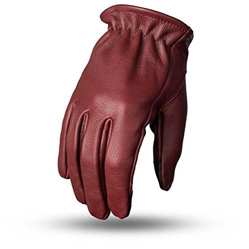 First Mfg Co Men's Roper Leather Motorcycle Touch Tech Finger Gloves (Oxblood, Large)