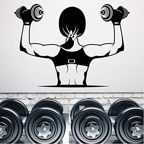 Persönlichkeit Vinyl Wand Gym Muskeln Schöne Mädchen Körpergewichte Klebstoffe 41X57Cm Wandaufkleber