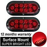 TMH (Pack of 2) 6 Inch 10 LED Surface Mount Oval Red Stop Brake Marker Tail LED Light, for Truck Trailer Trail Bus 12V DC