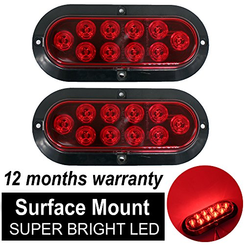 TMH ( Pack of 2 ) 6' 10 LED Surface Mount Oval Red Stop Brake Marker Tail LED Light, for Truck Trailer Trail Bus 12V DC