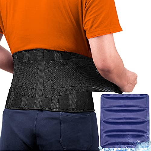 FEATOL Gel Pack Back Brace,Lumbar Support for Back Pain Relief, Herniated Disc, Sciatica, Scoliosis - Breathable Material Design with Heat & Ice Gel Pack for Men & Women  Large/X-Large