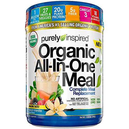 Purely Inspired All-in-One Meal Meal Replacement Shake Powder, Vegan, 20g Protein with Fiber, Vitamins, Minerals & Probiotics, French Vanilla, 15 Servings (1.3lbs)(Packaging May Vary)