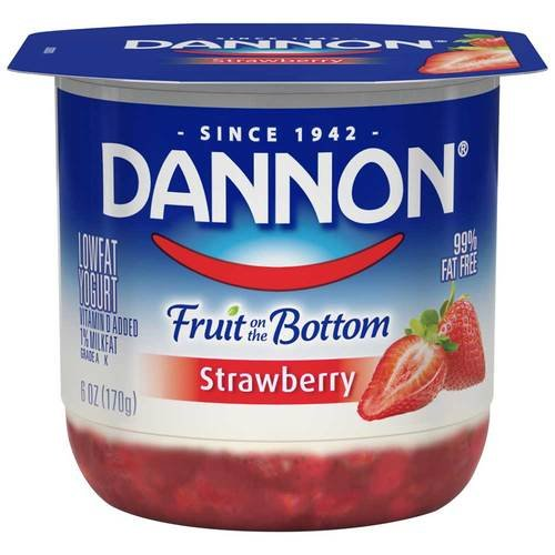 Dannon Fruit on the Bottom Strawberry Yogurt, 6 Ounce -- 12 per case.