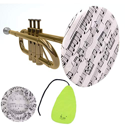 trumpet bells GRAUES Trumpet Bell Cover | clarinet cleaning kit and saxophone cover | Music Note Printed Stylish instrument bell covers | flute cleaning cloth (5 INCH WITH CLOTH)